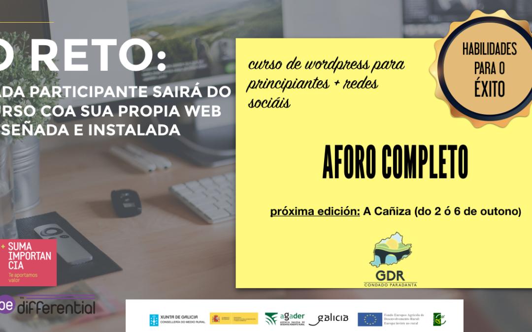 Curso de WordPress + redes sociais en A Cañiza
